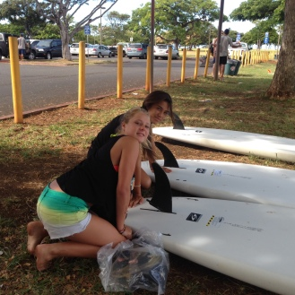 Girls learned how to attach fins